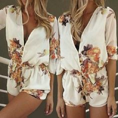 Floral Romper Floral white romper. It is cut a little small. It is really cute and stylish though. It has never been worn and in good condition. It is a see through in the back but has two layers on the legs. Rosegal Other