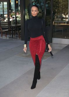The post Get the Look: Draya Michele's LA Wolford Black Turtleneck, ASOS Red Suede Pencil Skirt with Slit, and Tom Ford Thigh High Boots appeared first on Fashion Bomb Daily Style Magazine: Celebrity