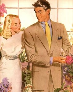He's showing good taste in flowers, and for my money good taste in women. This was an advertisement for Hart Schaffner and Marx suits. Pin Up Vintage, Mode Vintage, Retro Vintage, Romance Art, Vintage Romance, Vintage Couples, Cute Couples, Candy Y Terry, Vintage Housewife