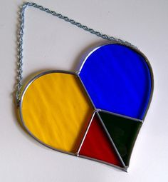 Peace Sign Heart Rainbow Stained Glass Suncatcher by GlassByKat, $22.00
