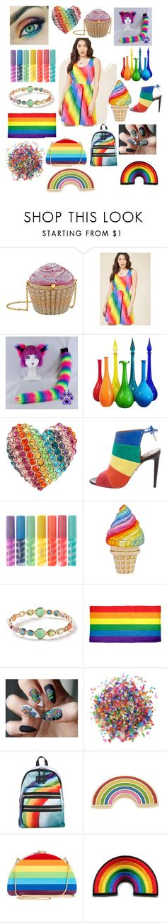 """""""rainbow"""" by aaliyahmidas ❤ liked on Polyvore featuring Judith Leiber, Betsey Johnson, Aquazzura, claire's, Ippolita, Dress My Cupcake, Marc Jacobs, Georgia Perry and Milly"""
