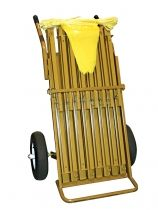 Folding Warning Line Carrier:   Help protect workers from dangerous areas around the job site or roof. Cart holds up to 8 Stanchions. This lightweight and compact warning line system is easier to set up and requires less storage space. Spring activated legs lock firmly into place, no lost poles or locking pins. Each Stanchion has a built in handle for easily transporting to and from job sites. Handled cart allows for easy storage as well as effortless transport of stanchions.