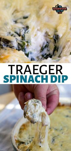 This cheesy homemade Traeger Spinach Artichoke Dip is full of amazing cheeses, artichoke hearts, and sauteed spinach. The dip base is cream cheese, sour cream, and mayo. Appetizer Dips, Yummy Appetizers, Appetizer Recipes, Dinner Recipes, Traeger Recipes, Grilling Recipes, Camping Recipes, Spinach Artichoke Dip, Artichoke Hearts