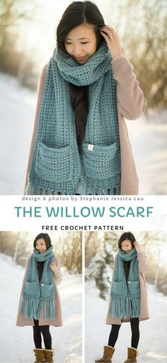The Willow Scarf Free Crochet Pattern - Super Chunky Textured Scarfs. This beautiful, chunky scarf is just the perfect accessory for winter time. It's super warm and soft, so you won't get c. Crochet Motifs, Crochet Shawl, Crochet Stitches, Free Crochet, Knit Crochet, Crochet Patterns, Chunky Crochet Scarf, Crochet Scarves, Crochet Clothes