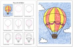Draw a Hot Air Balloon - Art Projects for Kids Art Drawings For Kids, Drawing For Kids, Easy Drawings, Art For Kids, Drawing Drawing, Classe D'art, 3rd Grade Art, Kid Cudi, Learn Art