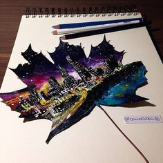 ✎ Autumn Leaves as Canvases for Paintings by @awirazka16 #creativity #design