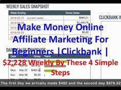 Make Money Online Affiliate Marketing For Beginners |Clickbank |$2,228 Weekly By These 4 Simple Step - www.wahmmo.com/... - - WAHMMO