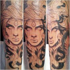 First session on my medusa leg piece by Lindsay Dorman @ 4 Forty 4 Tattoo, Tucson, AZ - Imgur