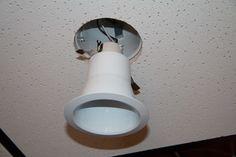 Installing recessed lighting trim Drop Ceiling Basement, Drop Ceiling Lighting, Ceiling Lights, Installing Recessed Lighting, Recessed Lighting Trim, Dropped Ceiling, Ceiling Tiles, Light Installation, Wall Lights