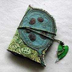 Handmade small journal with an Honesty plant design motif. Exquisite!