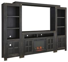 Gavelston Entertainment Wall Unit w/ Large TV Stand, Fireplace, Bridge, and Piers by Signature Design by Ashley at Sheely's Furniture & Appliance Entertainment Weekly, Entertainment System, Wall Entertainment Center, Entertainment Furniture, Large Tv Stands, Cubby Storage, Built Ins, The Unit, Entertaining