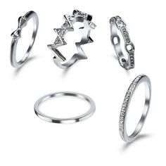 Rhinestone Bows Round Finger Ring Set Silver ($4.55) ❤ liked on Polyvore featuring jewelry, rings, bow ring, silver jewelry, bow jewelry, silver bow jewelry and silver jewellery