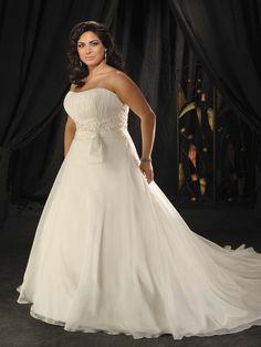 Chiffon Empire Waist Plus Size Scoop Neckline Strapless Wedding Dress