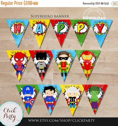 50% OFF SALE Superhero Banner Super Hero Birthday por ClickParty