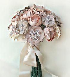 dusty pink brooch bouquet via banffandcanmoreweddingplanner_com Fabric Bouquet, Broach Bouquet, Silk Bridal Bouquet, Wedding Brooch Bouquets, Blush Bouquet, Diy Bouquet, Paper Bouquet, Bridemaid Bouquet, Vintage Bridal Bouquet