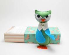 Stuffed owl in a matchbox blue green orange by atelierpompadour