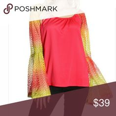 COMING SOON! Coral Multi Crochet Sleeve Blouse! Gorgeous coral blouse with multi colored crochet sleeves! Multiple sizes and coming soon!  Made in the USA! 95% Polyester  5% Spandex Tops Blouses