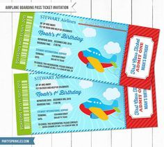 Airplane Birthday party - Boarding pass ticket - This design is so cute for a birthday or a toddler's party! Ticket Invitation, Invitations, First Class Tickets, Airplane Party, Art Birthday, Boarding Pass, Airplanes, Handmade Gifts, Party Ideas