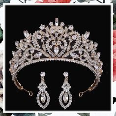 (This is an affiliate pin) Bomine Crystal Tiara Crowns For Women Girls Princess Elegant Crown with Earring Women's Headbands Bridal Wedding Prom Birthday Party Headbands for Women (Gold) #haircare #headbands