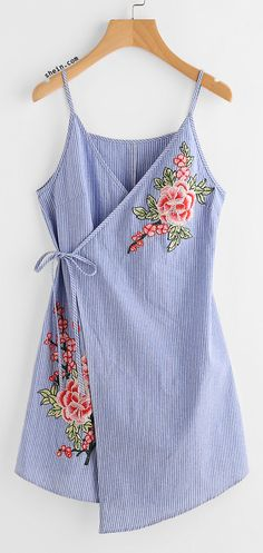 Embroidered Flower Applique Pinstripe Asymmetric Wrap Dress