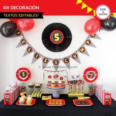 Decoración de cumpleaños de autos de carrera Disney Cars Birthday, Cars Birthday Parties, Birthday Party Decorations, Monster Truck Party, Hot Wheels Party, Baby Party, Party Time, Birthdays, Motocross