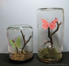 Danee's Stampin 'Delights: Upcycled Glass Jars: Butterfly Oasis # butterfly … Jar Crafts, Bottle Crafts, Diy And Crafts, Crafts For Kids, Arts And Crafts, Upcycled Crafts, Jar Image, Paper Birds, Butterfly Crafts
