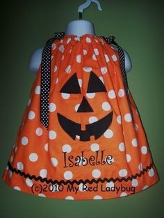 Personalized Halloween Pumpkin Pillowcase Dress by myredladybug