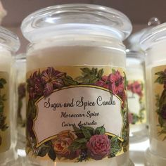 Sugar and Spice Candles Moroccan Spices, Candle Shop, Sugar And Spice, Magick, Basil, Mason Jars, Lime, Fragrance, Herbs
