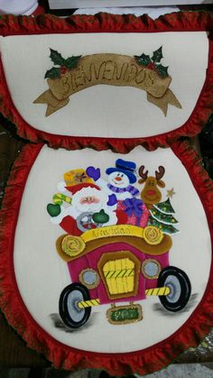 Santa claus Ideas Para, Diy And Crafts, Christmas, Xmas, Scrappy Quilts, Christmas Bathroom Decor, Christmas Bells, Holiday Pictures, Painted Bathrooms