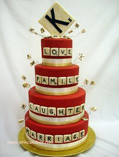For those devoted scrabble fants - a scrabble wedding cake by Pink Cake Box