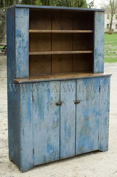 Step-Back Cupboard - BLUE PAINT...dry patina. First-half 19th century. New England Pine.