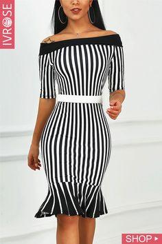 7d376701ee88 Off Shoulder Striped Fishtail Hem Dress Avslappnade Klänningar, Outfits  Plusstorlekar, Kläder För Kvinnor,