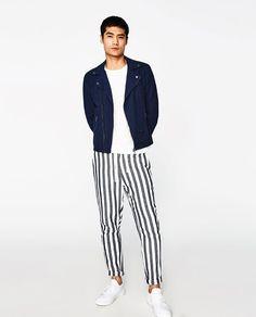 Image 1 of LINEN BIKER JACKET from Zara