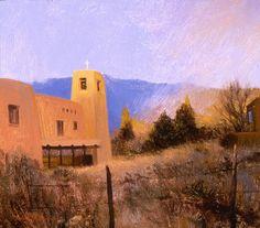 SOLD I Snow Over Cristo Rey I 7x8 I Dix Baines I Fine Artist Original Oil Paintings I Southwest Churches I Southwest Paintings I www.dixbaines.com