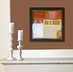 """ADOBE original abstract modern painting. A textural impasto painting that could really go anywhere. Metallic gold and copper details capture and play with the light. 9"""" x 9"""" x 1.5""""  acrylic on gallery-stretched canvas w/staples in the back; sides are painted, so there's no need to frame the artwork."""