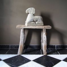 Antique Chinese Stool & Handcarved Stone Statue