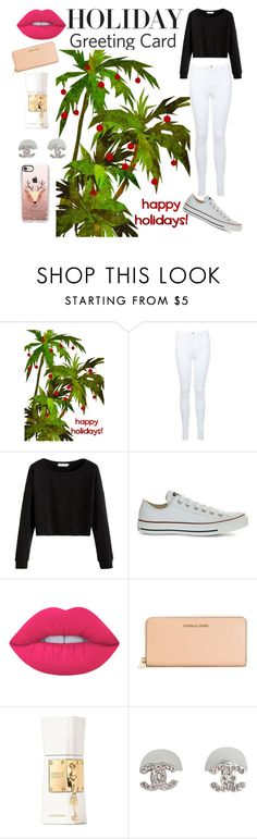 """""""Holiday Greeting Card"""" by georgievskirebeca ❤ liked on Polyvore featuring Miss Selfridge, Converse, Lime Crime, MICHAEL Michael Kors, Justin Bieber, Catherine Malandrino, Casetify, holidaygreetingcard and PVStyleInsiders"""