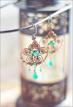 copper wirework earrings by sabi_krabi, via flickr