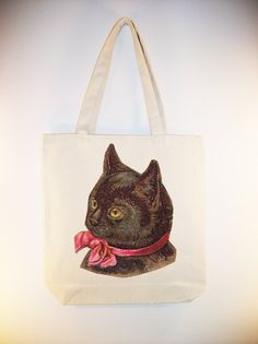 Vintage Black Cat with Bow lllustration on 15x15 Canvas Tote  - Larger zip top style tote and personalizationavailable  #handmade  #thecraftstar  $12.00