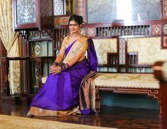 #karwachauth #saree #silk #blue #purple #coppergold