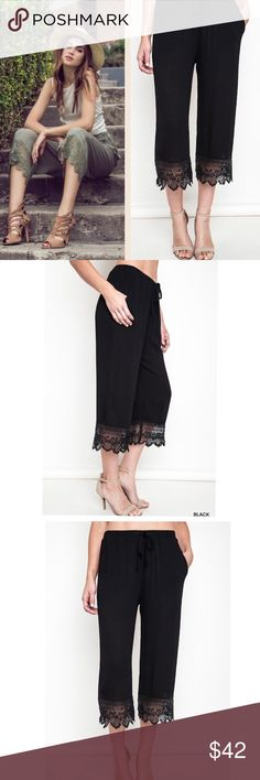 ARRIVAL! Lace detailed Capri loose fit pant Black front tie cropped capri pants. This listing is for BLACK color Beautiful lace trim detail at the bottom Features faux front tie, elastic waist and pockets Dress up with nice heels and blouse or wear them casual with tank top and flats. Material: 60% cotton, 40% polyester Comfortable and stylish! Length approximately 31.5 inches Pink Peplum Boutique Pants Capris