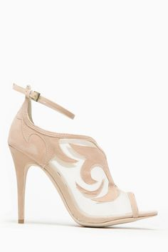 Anne Michelle Classic Nude Mesh Peep Toe Heel