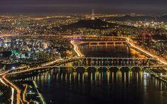 Indir duvar kağıdı Seul, gece, panorama city, metropolis, şehir ışıkları, Güney Kore