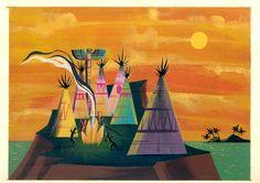 Indian Village Mary Blair, Art Disney, Disney Artists, Disney Concept Art, Disney Magic, Art Et Illustration, Illustrations, Animation Disney, Film D'animation