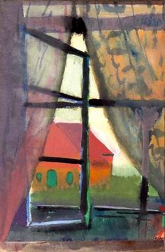 Paul Klee: Fensterausblick (Nordseeinsel)/Vue d'une fenêtre (Ile de la mer du Nord), 1923.