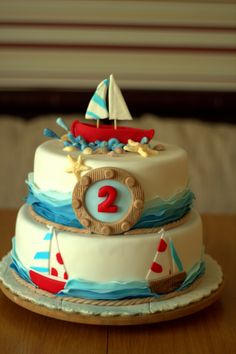 Nautical Birthday Cake! @Misty Hitt do you think you could do this for Connor's bday party in May?