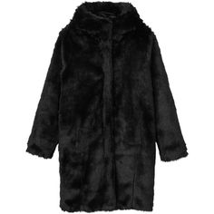 Safira coat (800 SEK) ❤ liked on Polyvore featuring outerwear, coats, safira, faux fur hooded coat, hooded coats, black faux fur coat and fuzzy coat