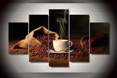 Hot Sell Modern Wall Painting of bag coffee beans shoulder cup for Home Decorative Art Picture Paint on Canvas Prints