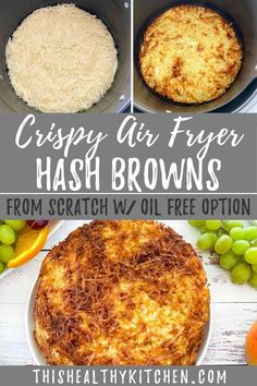 These are truly the BEST homemade air fryer hash browns. Made from scratch using fresh shredded potatoes, with no frozen ingredients here. It's the perfect addition to your breakfast spread with an oil free option, too!