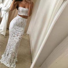 Women's Off-Shoulder Sequin Two-Piece Set Dress Year 10 Formal Dresses, Grad Dresses, Evening Dresses, Fall Dresses, Party Dresses, Wedding Dresses, White Ball Dresses, White Dress, White Formal Dresses